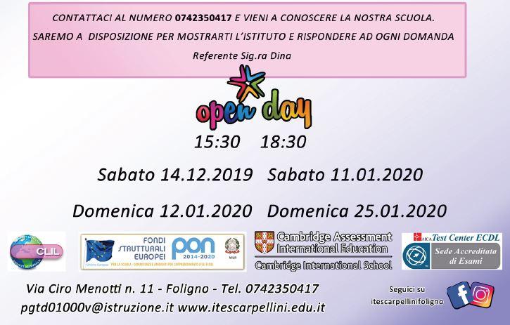 CALENDARIO OPEN DAY 2020